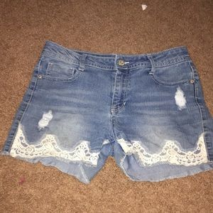 Laced Jean Shorts